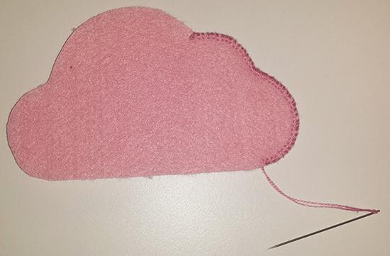 Proceso de costura de nube de fieltro 1