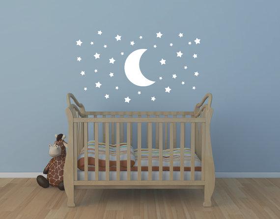Vinilo de bebé de luna y estrellas