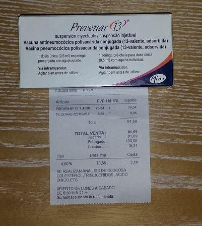 Precio de la vacuna prevenar 13