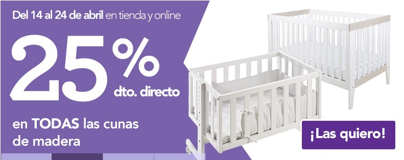 25% de descuento en cunas y otros muebles