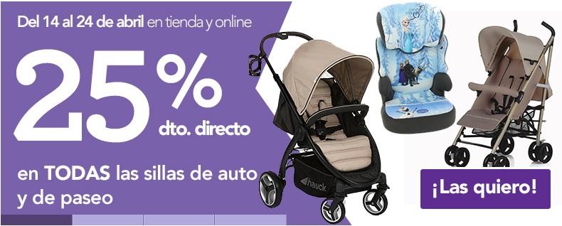25% de descuento en sillas de paseo y sillas de coche