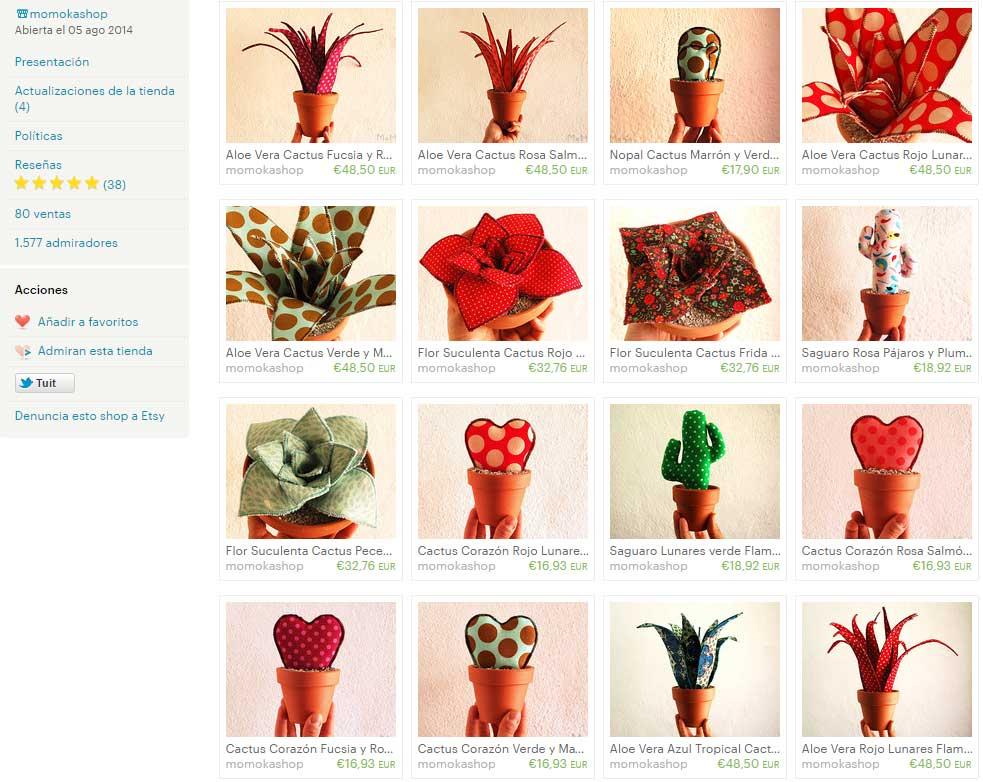 Cactus de tela de Momokashop en Etsy 2