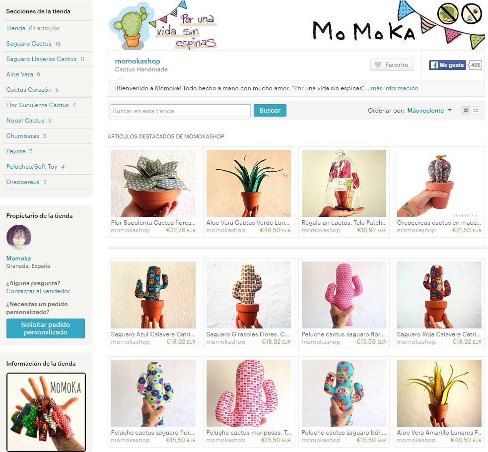 Cactus de tela de Momokashop en Etsy