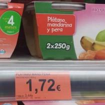 Potitos de fruta: pera, plátano y mandarina